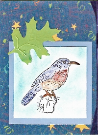 Bird stamped + Blue Card