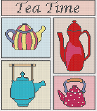 Tea time (crosstitch chart) Newbie friendly. Email