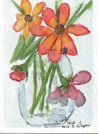 Watercolor ATC, May Flowers