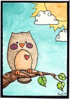 Hand Drawn Owl ATC